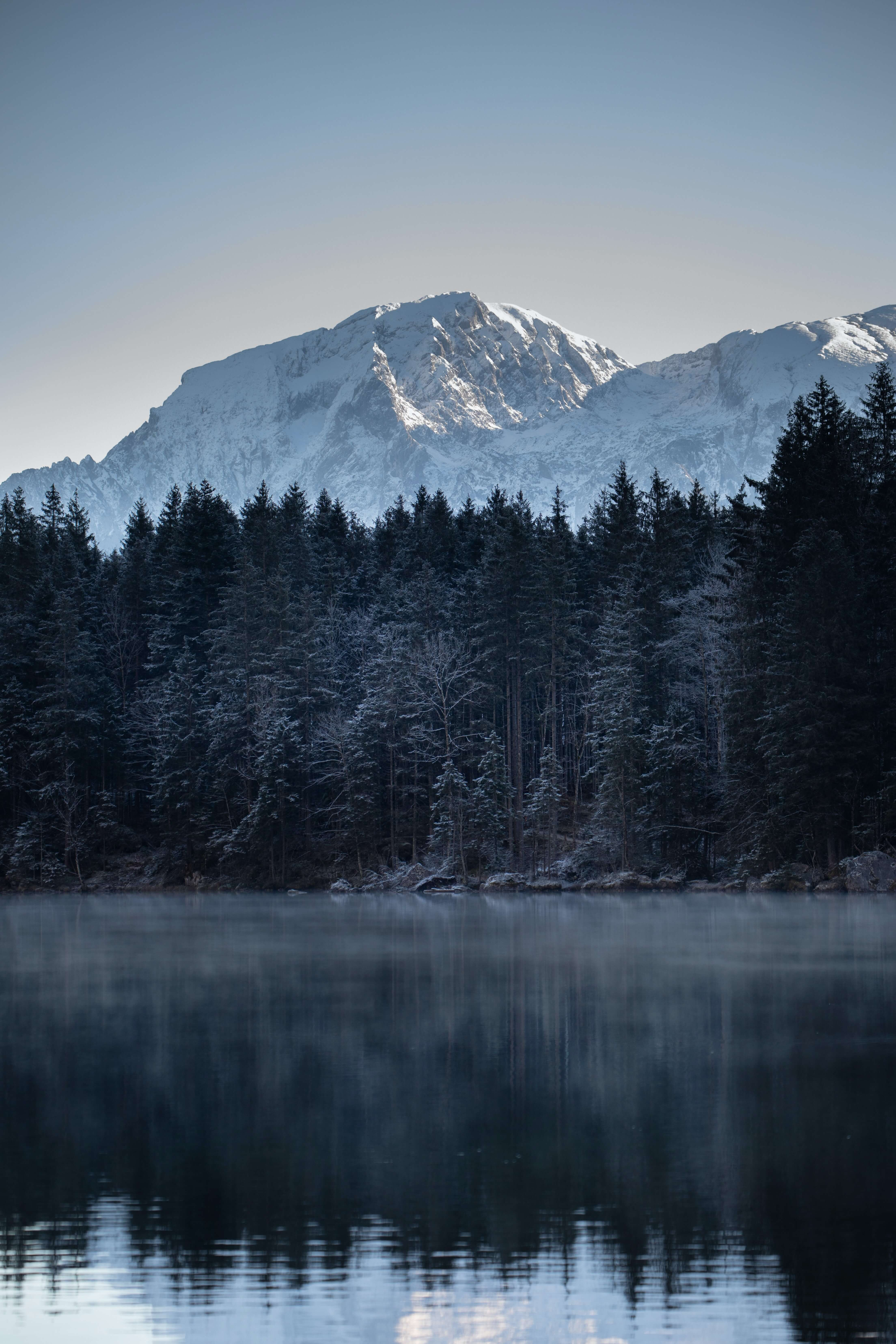 snowy mountain behind a lake
