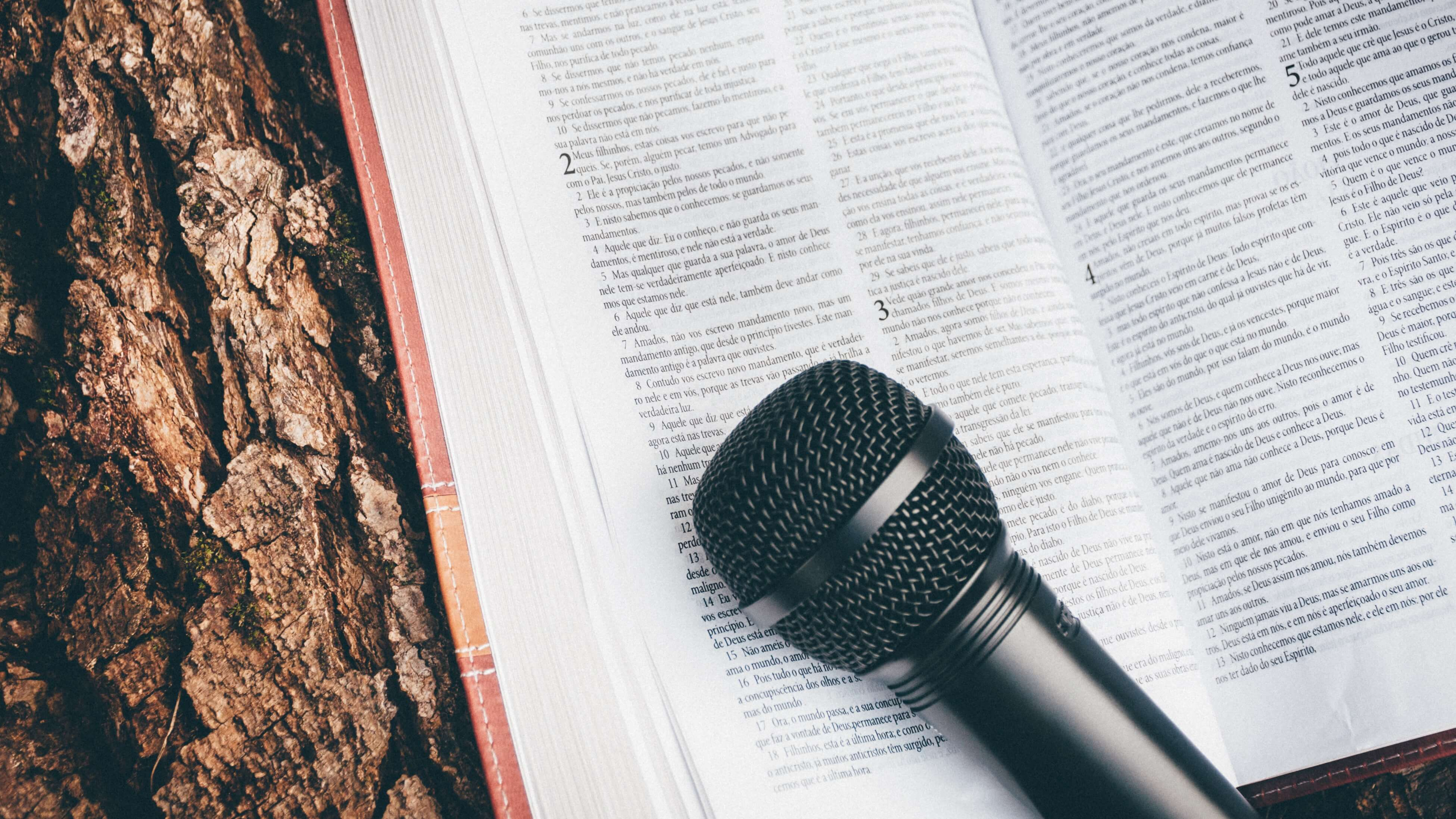 microphone on a bible