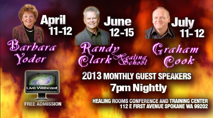 Healing Rooms Guest Speakers April - July 2013
